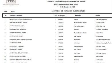 Ver la lista de jurados electorales de los 9 departamentos de Bolivia elecciones 2020