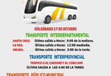 Photo of Horario de transporte Interdepartamenta para el sabado